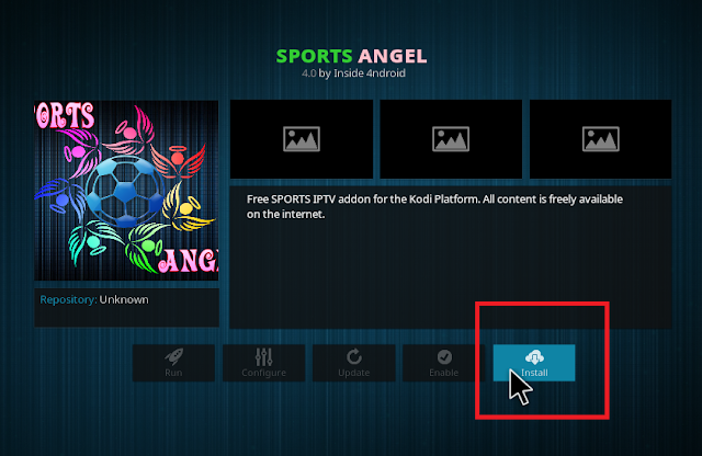 click Install to begin install sports angel addon on your kodi