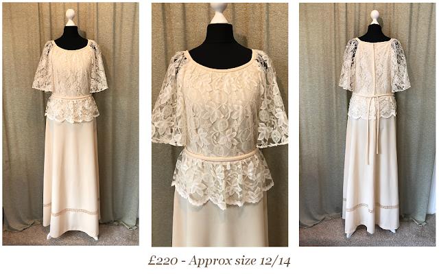 Boho cream original 1970s bohemian vintage wedding dress available from vintage lane bridal boutique wedding dress shop in bolton manchester