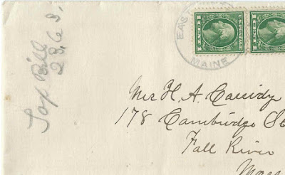 Two Letters, one dated 1914, from possibly Eva Elizabeth (Damon) Sawtelle, at East Winthrop, Maine, to Mrs. Henry A. Cassidy at Fall River, Massachusetts