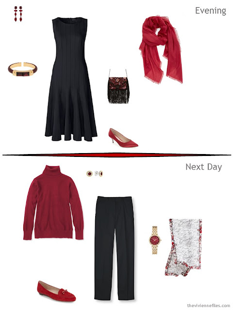 2 outfits taken from an overnight packing plan in a travel capsule wardrobe