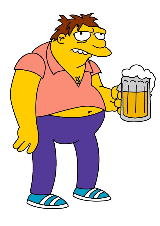 Barney el borracho de Los Simpsons con una jarra en la mano