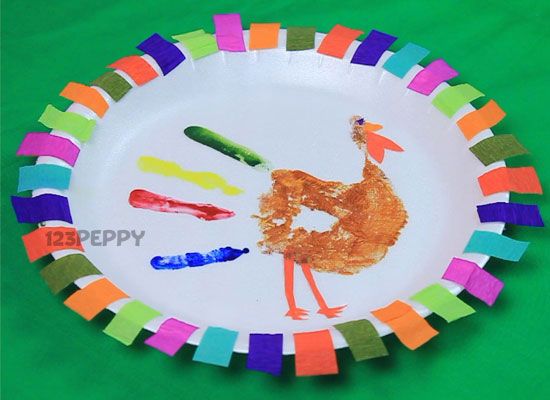 colorful handprint turkey