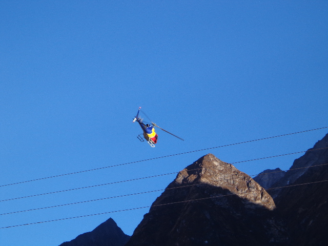 Helicopter in manaslu trek Nepal.Rescue the tourist in manaslu trekking helicopter coming