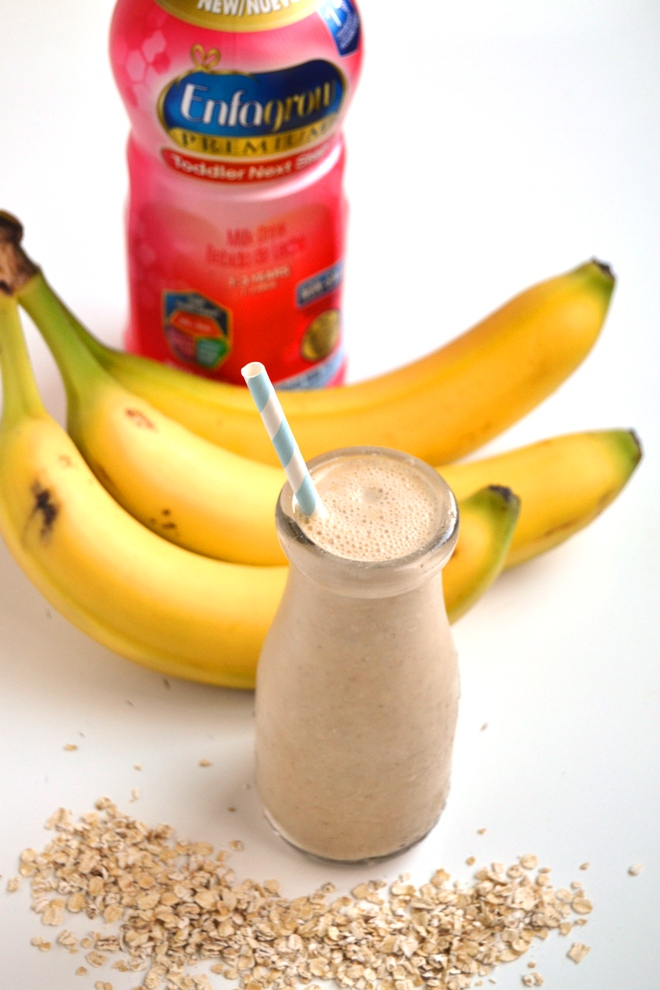 Kids Oatmeal Breakfast Smoothie is a nutritious smoothie for kids with bananas, oats, peanut butter and milk! www.nutritionistreviews.com
