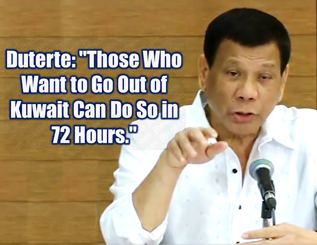 "President Rodrigo Duterte  was furious about the latest report of death of a Filipino woman who was found inside a freezer in an abandoned flat in Kuwait, saying he is ready to take ""drastic measures"" to prevent further loss of lives among overseas Filipino workers (OFWs) in Kuwait and other Gulf nations.  ""The Filipino is no slave to anyone, anywhere and everywhere,"" Duterte said in a press conference in his home city of Davao.  ""Every unlawful physical injury inflicted on an OFW is an injury I personally bear as the head of this republic. Every abuse committed to an OFW is an affront against us as a sovereign nation.""  Duterte could not hold back his anger after reading the news about the death of Joanna Daniela Demafelis, whose body was found inside a freezer at an abandoned apartment in Kuwait.    ""I was reading this report complete with pictures sa eroplano. P****g i*a. Hindi ko masikmura,"" he said.     ""It is totally unacceptable. Kung wala rin ako magagawa sa Pilipino, wala din akong silbi.""    Duterte again stressed he does not want a quarrel with oil-rich Arab nations, but he begged the governments of these countries to ensure that Filipino workers in the Middle East are treated humanely.    ""What are you doing to my countrymen? And if I were to do it to your citizens here, would you be happy?"" Duterte asked.    ""Is there something wrong with your culture? Is there something wrong with the values?""    In view of this development, the ban on the deployment of OFWs to Kuwait enforced last month stays indefinitely, Duterte said.  Sponsored Links  ""Everyone who wants to come home, I said to [Labor Secretary Silvestre Bello III], those who want to be repatriated, with or without money, I will ask PAL (Philippine Airlines) and Cebu Pacific to provide the transpo[rtation]. I want them out of the country, those who want to go out, in 72 hours,"" said Duterte, who had earlier threatened to withdraw all OFWs in Kuwait.    The President recently met with Kuwait Ambassador to the Philippines Saleh Ahmad Althwaikh and was invited to visit the Gulf state.  The meeting between Duterte and the Kuwaiti envoy took place just as news about Demafelis' death broke.  More than 250,000 Filipinos work in Kuwait, the Department of Foreign Affairs estimates, most of them as domestic helpers. There are also large numbers in the United Arab Emirates, Saudi Arabia and Qatar.       Advertisements  Read More:  Body Of Household Worker Found Inside A Freezer In Kuwait; Confirmed Filipina  Senate Approves Bill For Free OFW Handbook    Overseas Filipinos In Qatar Losing Jobs Amid Diplomatic Crisis—DOLE How To Get Philippine International Driving Permit (PIDP)    DFA To Temporarily Suspend One-Day Processing For Authentication Of Documents (Red Ribbon)    SSS Monthly Pension Calculator Based On Monthly Donation    What You Need to Know For A Successful Housing Loan Application    What is Certificate of Good Conduct Which is Required By Employers In the UAE and HOW To Get It?    OWWA Programs And Benefits, Other Concerns Explained By DA Arnel Ignacio And Admin Hans Cacdac   ©2018 THOUGHTSKOTO  www.jbsolis.com   SEARCH JBSOLIS, TYPE KEYWORDS and TITLE OF ARTICLE at the box below"