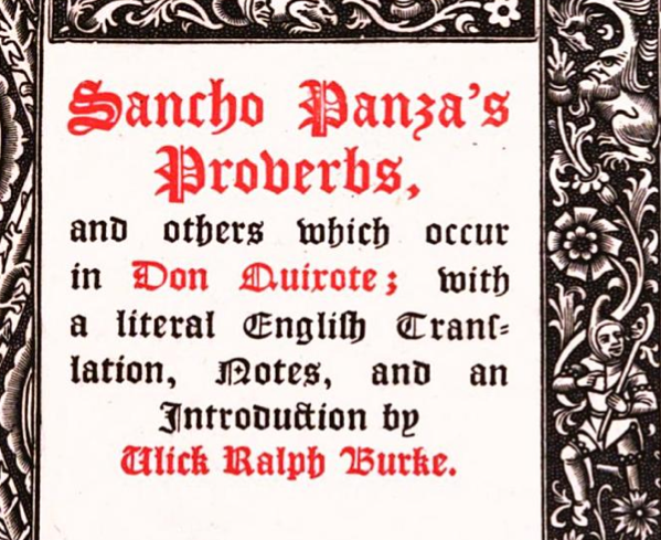 English In Italian: Go Proverbs! Proverb Laboratory: Title: Sancho Panza's