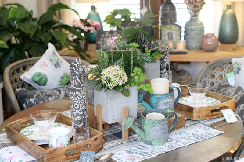 a spring decorated dining room table