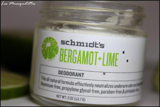 Déodorant solide Bergamot + Lime Schmidt's - Les Mousquetettes©