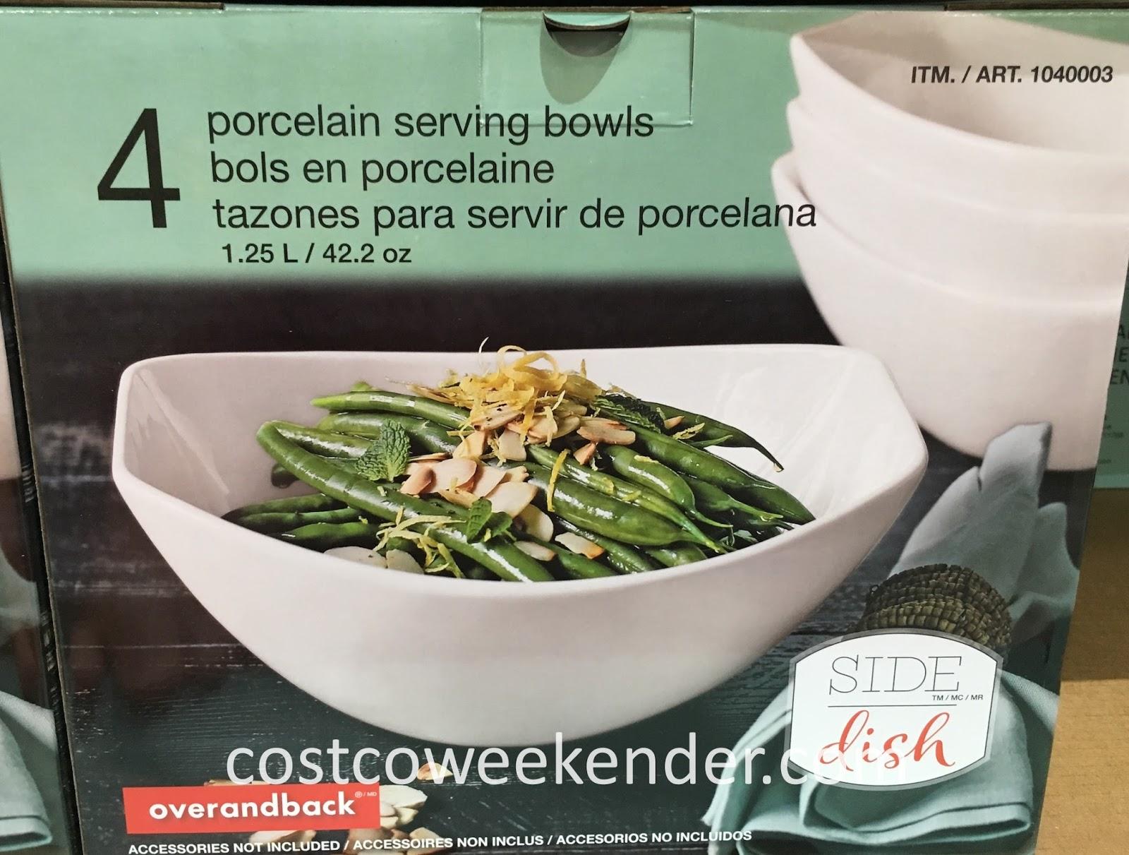 Serve delicious food in a overandback Porcelain Serving Bowl