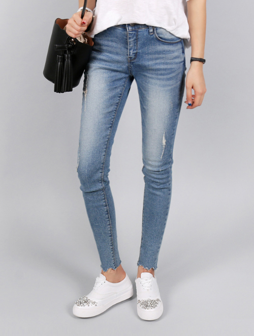 Jagged Raw Hem Distressed Jeans