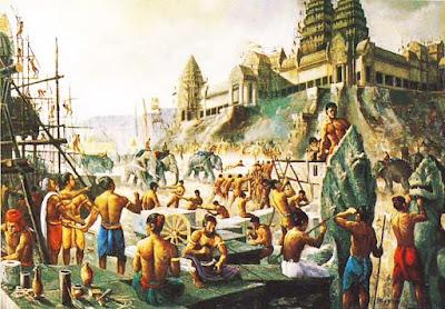 Decenas de miles de obreros, ayudados por elefantes, se afanan en la construcción de los nuevos templos de Angkor.