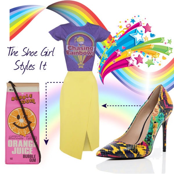Polyvore outfit set styled by The Shoe Girl with River Island snakeskin court shoes