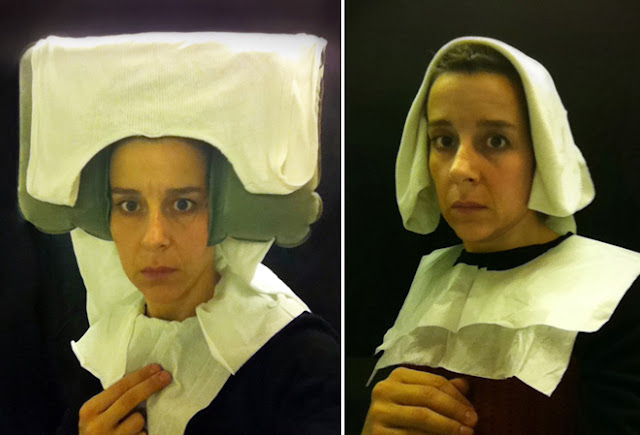 Nina Katchadourian - self-portraits airplane bathrooms as 15th century dutch painting