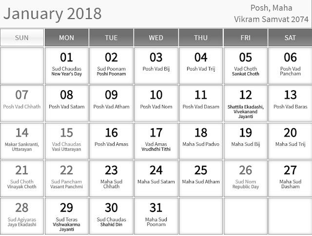 January 2018 Hindu Calendar with Tithi