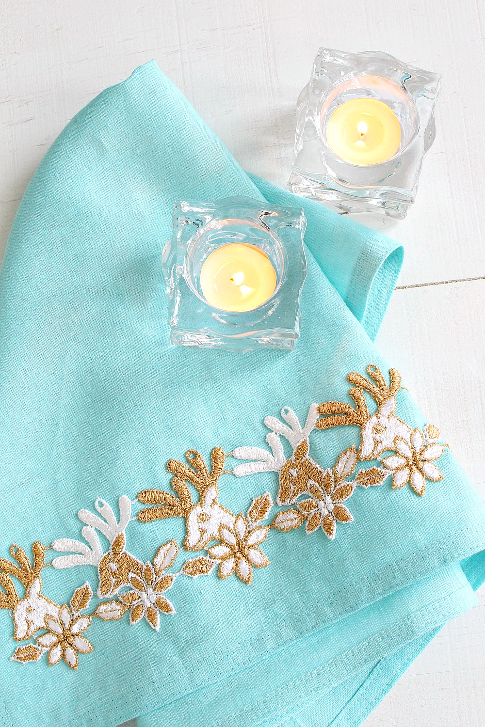 DIY embellished tea towel