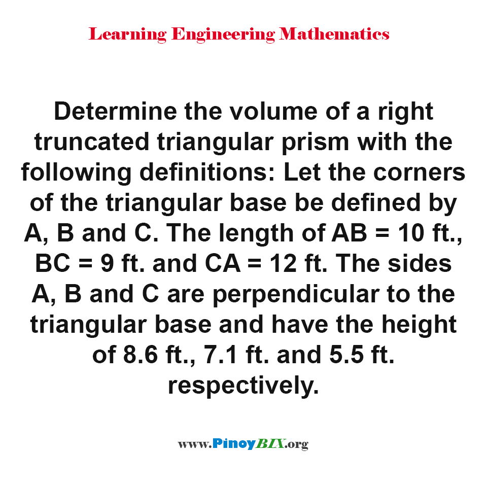 Find the volume of a right truncated triangular prism