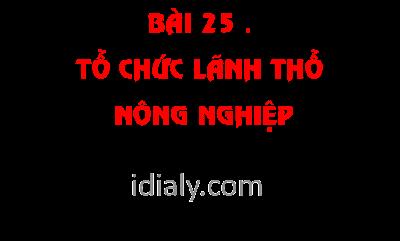 BÀI 25 . TỔ CHỨC LÃNH THỔ NÔNG NGHIỆP