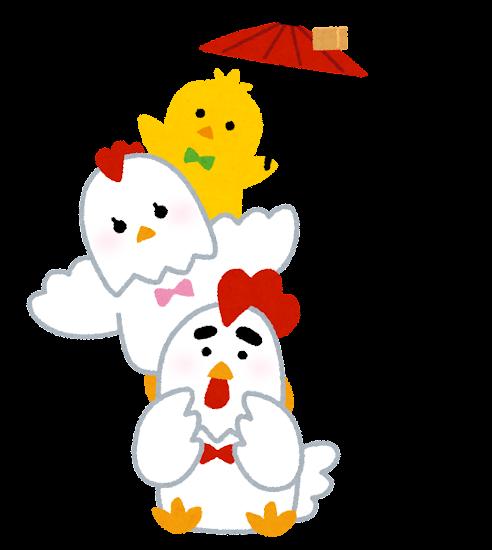 肩ぐるまをするニワトリの家族のイラスト(酉年・干支)