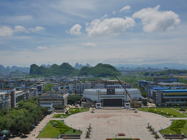 central Guilin on a day with good air and partly cloudy skies