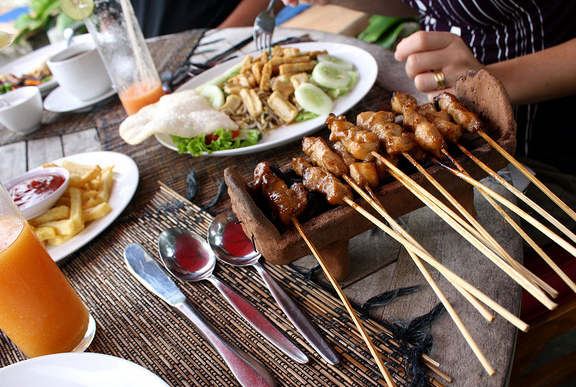 Sate is an extremely popular street food in Bali