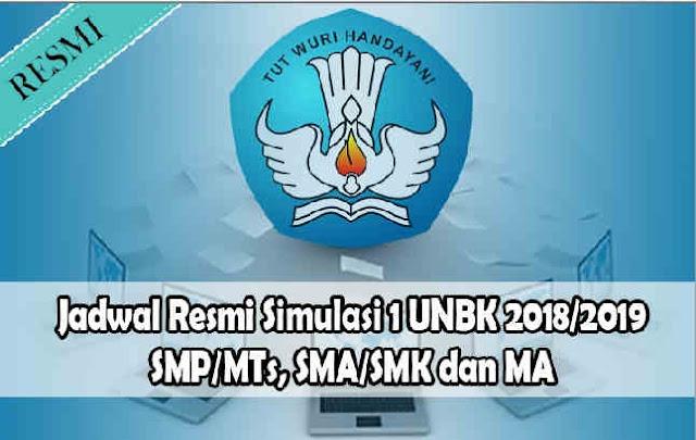 Jadwal Resmi Simulasi 1 UNBK 2018/2019 Dari Puspendik Semua Jenjang