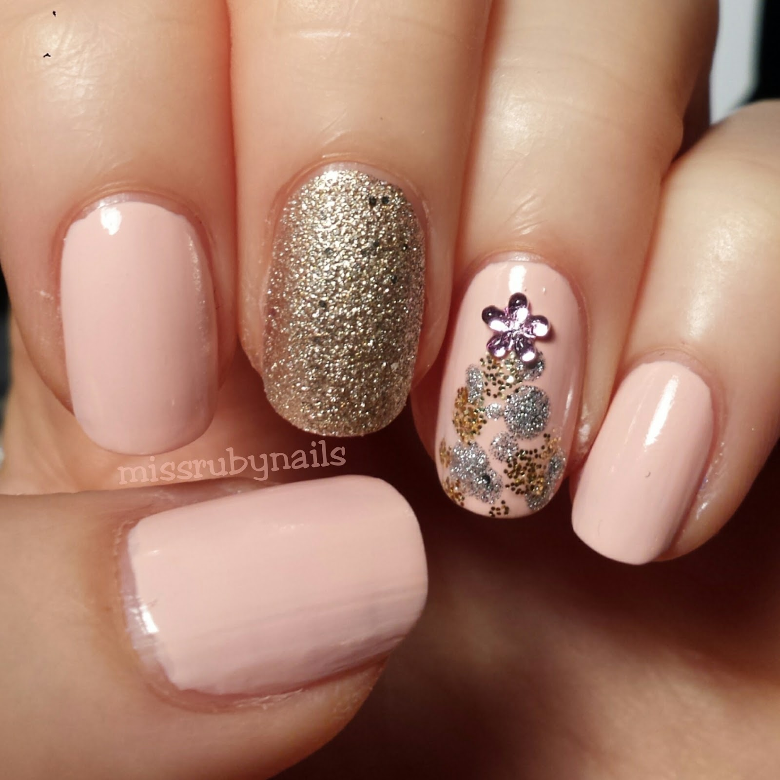 pink gold christmas tree nails