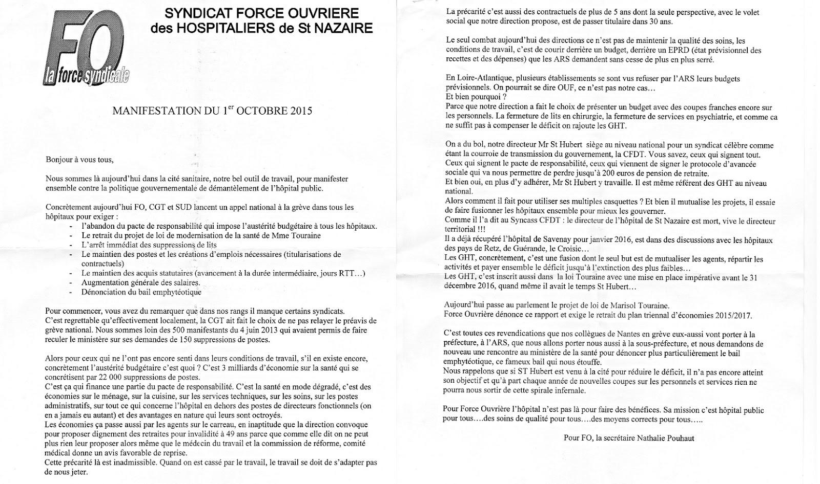 141d98dc1bb FO - Loire Atlantique  Les agents hospitaliers de la Cité Sanitaire ...