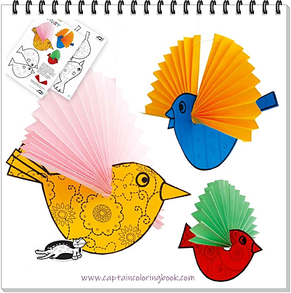 Paper Birds Craft Free Printable Coloring Page