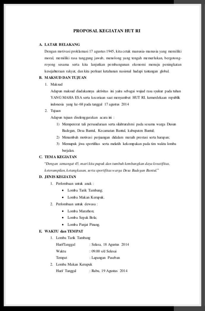 Contoh Proposal Kegiatan 17 Agustus Di Sekolah Dan Umum
