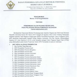 Lowongan CPNS BPK 2018