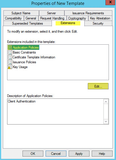 How to deploy active directory certificate services on windows click add server authentication then ok yelopaper Image collections