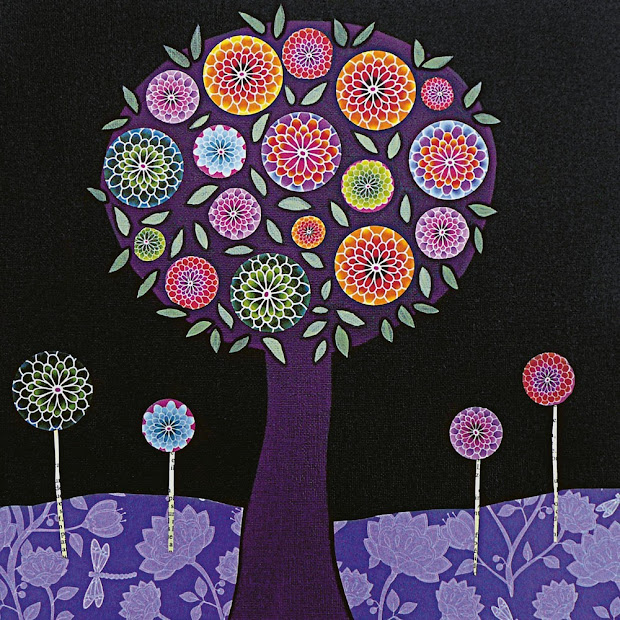 Purple Tree Abstract Painting