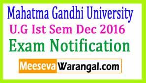Mahatma Gandhi University U.G Ist Sem Dec 2016 Revaluation Apply Notification