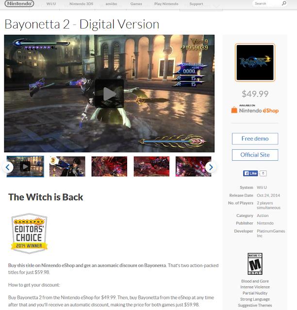 Nintendo Nintendo.com Bayonetta 2 digital version Wii U eShop