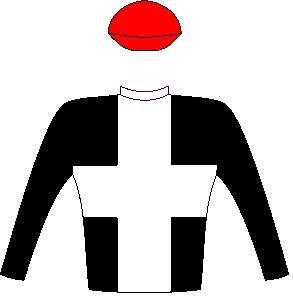 Ten Gun Salute - Jockey Silks - Black, white cross, black sleeves, red cap - Horse Racing