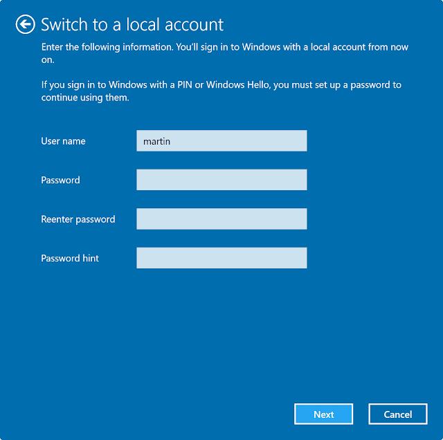 convert Microsoft account