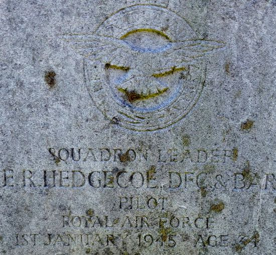 Photograph of The grave of Squadron Leader Edward Richard Hedgecoe  Image by the North Mymms History Project, released under Creative Commons BY-NC-SA 4.0
