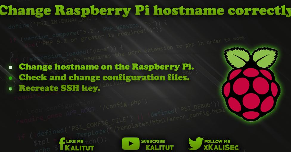 Raspberry Pi change hostname correctly - KaliTut