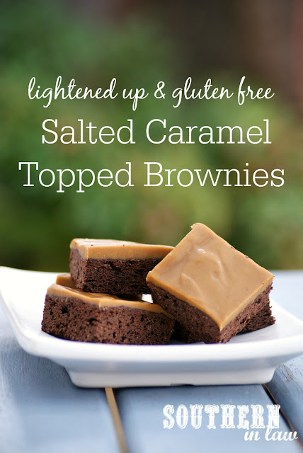 Healthy Salted Caramel Topped Brownie Recipe  lightened up, healthier, gluten free, salted caramel frosting, low fat, lower sugar, low calorie, healthier birthday cake recipes