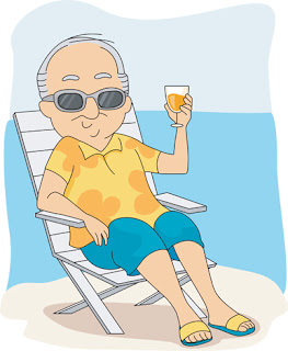 Clipart Image of a Senior Man Relaxing on a Beach With a Drink in His Hand