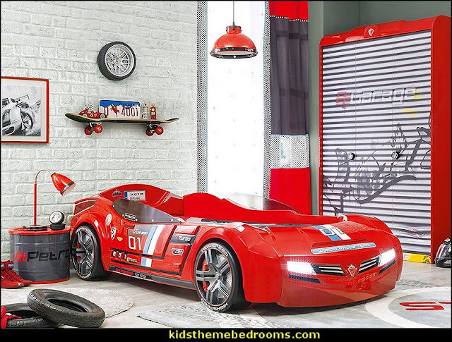 car beds - car racing theme bedrooms - theme beds - car beds - race car beds - cars - transportation theme