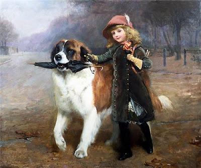 Девочка с большой собакой с зонтом картина  Charles Burton Barber