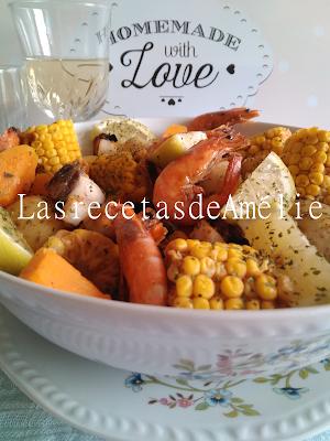 Verduras, gambas, maíz, calabaza, pescados, patatas, mariscos