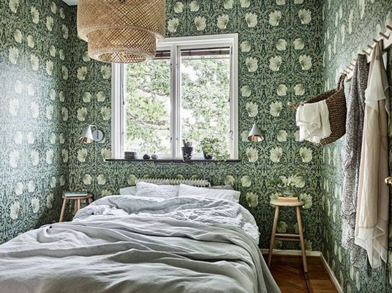 country style bedroom, green leaves wallpaper