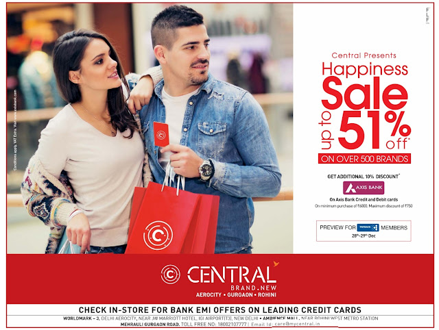 Delhi Central - Up to 51% discount offer | December 2016 year end sale | Christmas festival discount offers