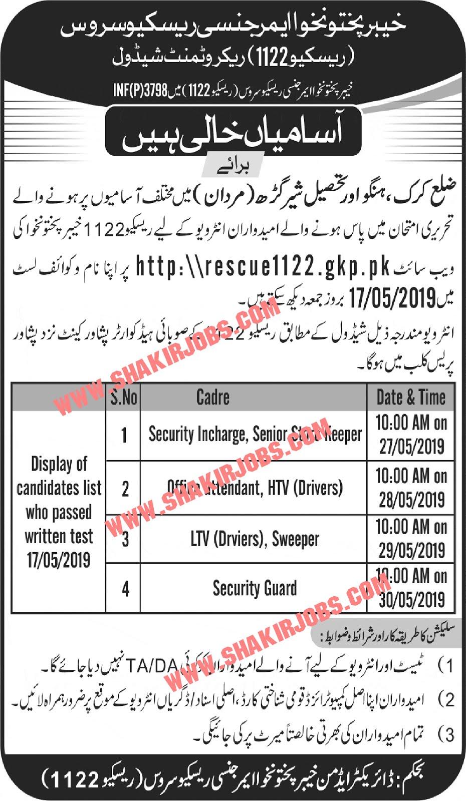 Rescue 1122 Recruitment Interview Schedule KPK 2019