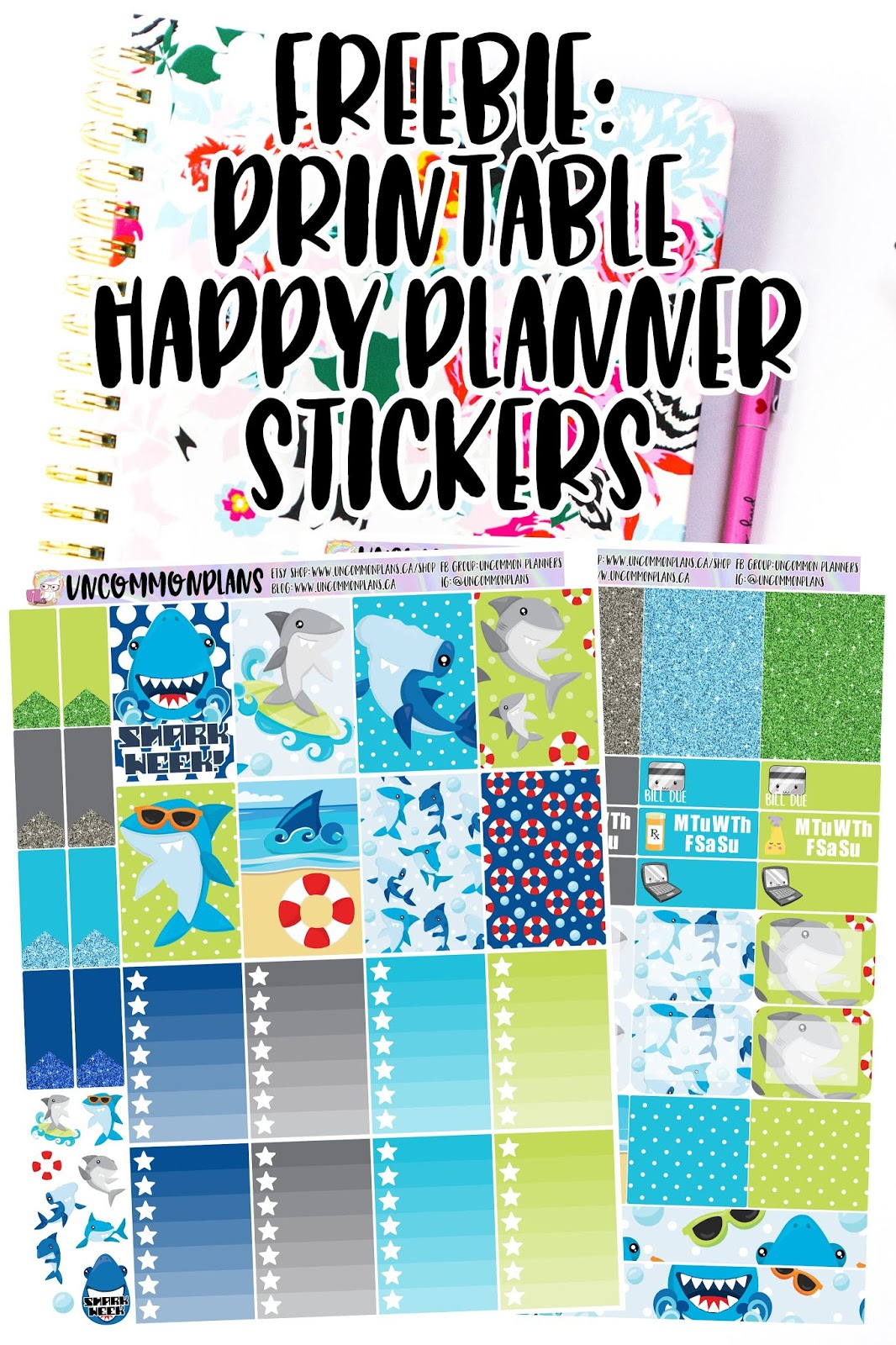 graphic about Free Printable Happy Planner Stickers identified as Strange Applications: FREEBIE: Shark 7 days Printable Planner