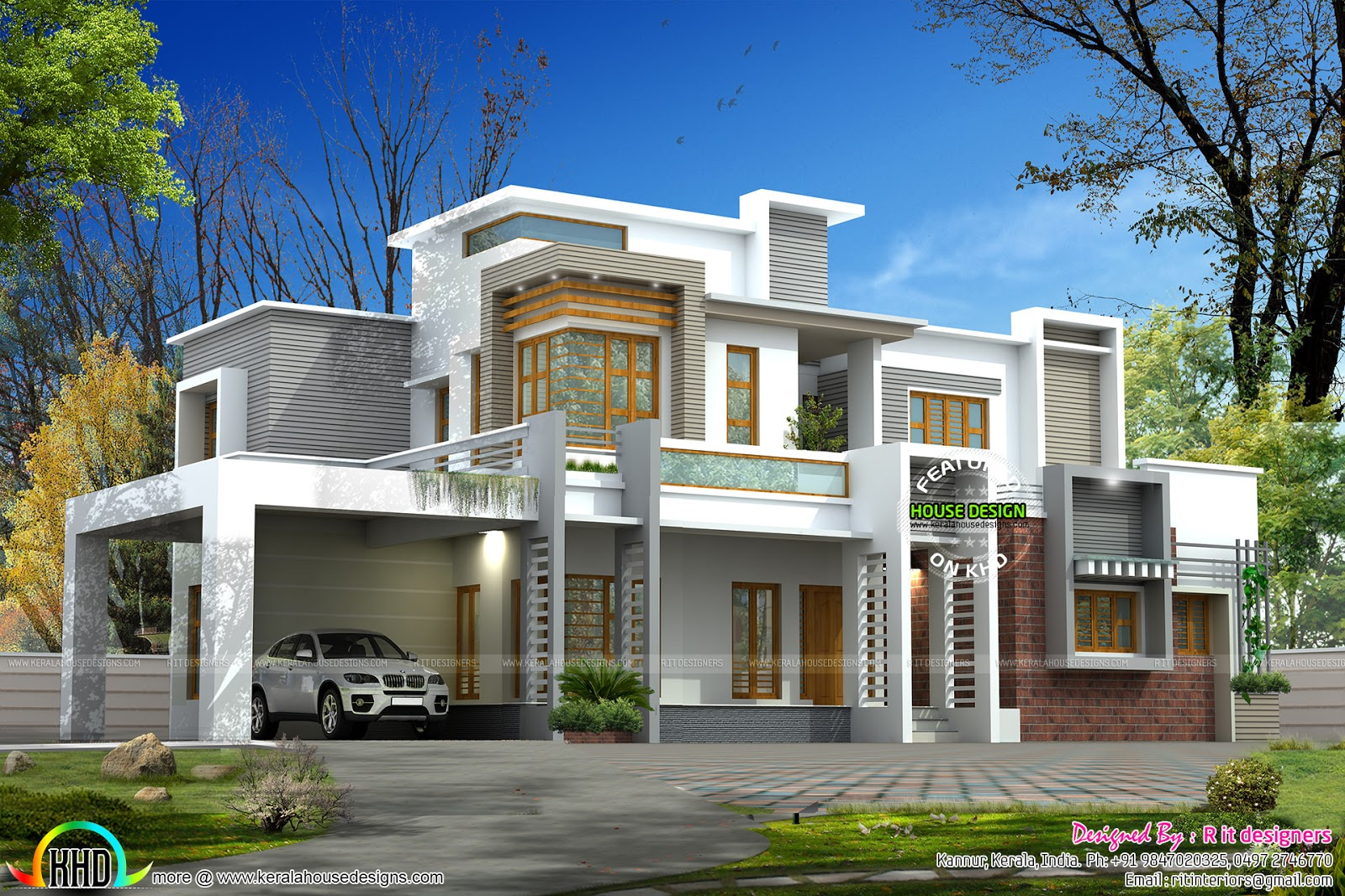 Pure luxurious contemporary home plan kerala home design for Pure home designs