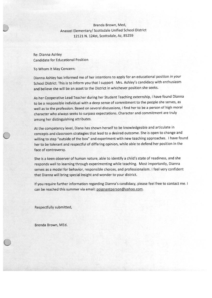 education recommendation letter