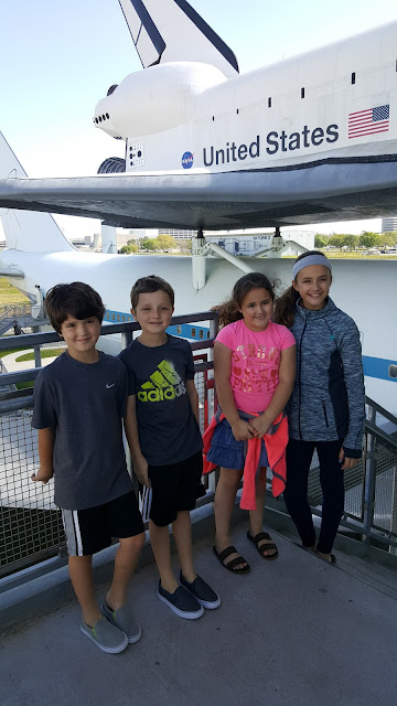 Posing in front of the Endeavour replica at Space Center Houston